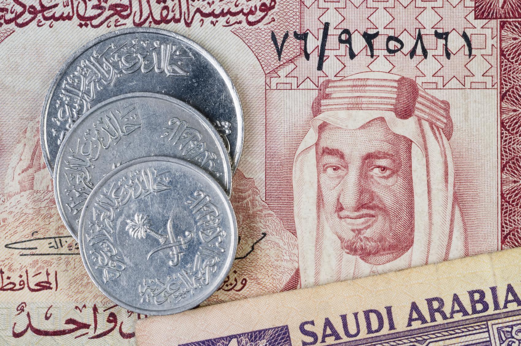 Saudi Arabian riyal banknotes & coins