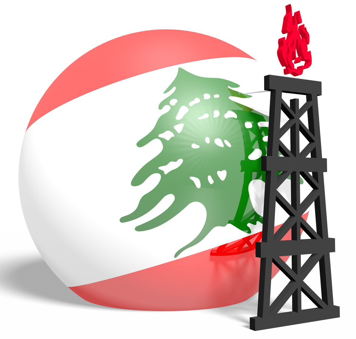 Reflected sphere with gas rig icon, textured by Lebanon flag
