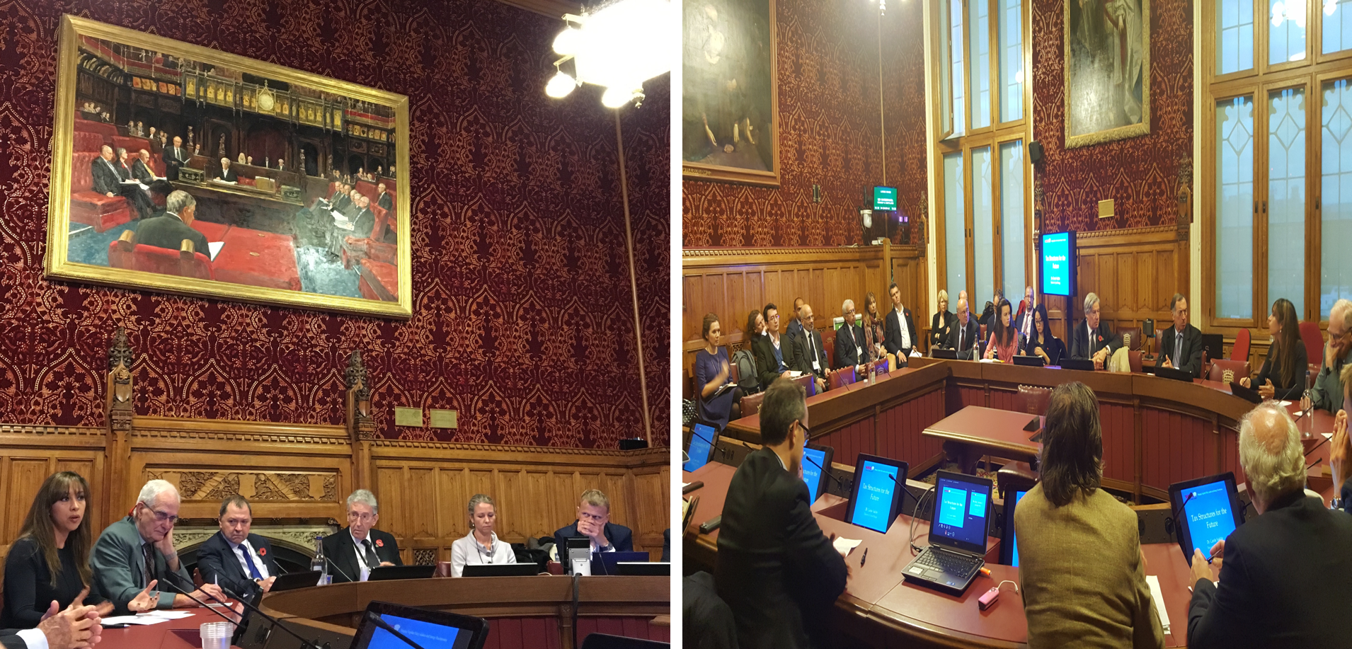 Dr Carole Nakhle and Dr Gavin Graham speaking at the North Sea Expert Review in the House of Lords. Lord Howell led the discussion.
