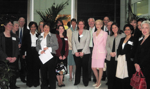 AccessWIE launch at Eversheds, in 2007. Participants included Lady Barbara Judge, UK Atomic Energy Authority; Dr Carole Nakhle, Director of AccessWIE; Ann Cormak, BIEE; Joan MacNaughton, DTI; Michelle Thomas, Eversheds; Lord Howell, House of Lords; Gilian Butchart, KPMG; Siham Razzouqi, OPEC; and Latifa Anbari-Debar, Shell.
